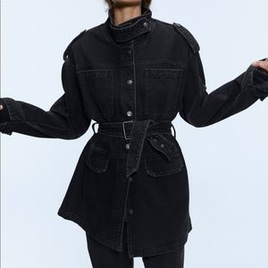 Zara Oversized Belted Black Longline Denim Jacket